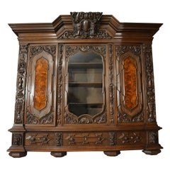 Baroque Revival Solid Oak Bookcase, circa 1900-1920