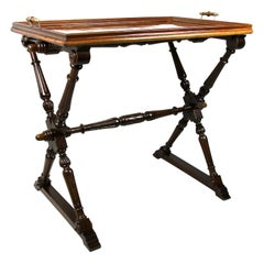 Baroque Revival Table with Removable Tray Nut Wood, Austria, circa 1870
