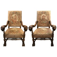 Baroque Revival Tapestry Upholstered Armchairs