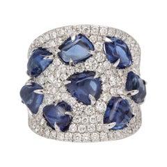 Baroque Sapphire Diamond White Gold Ring
