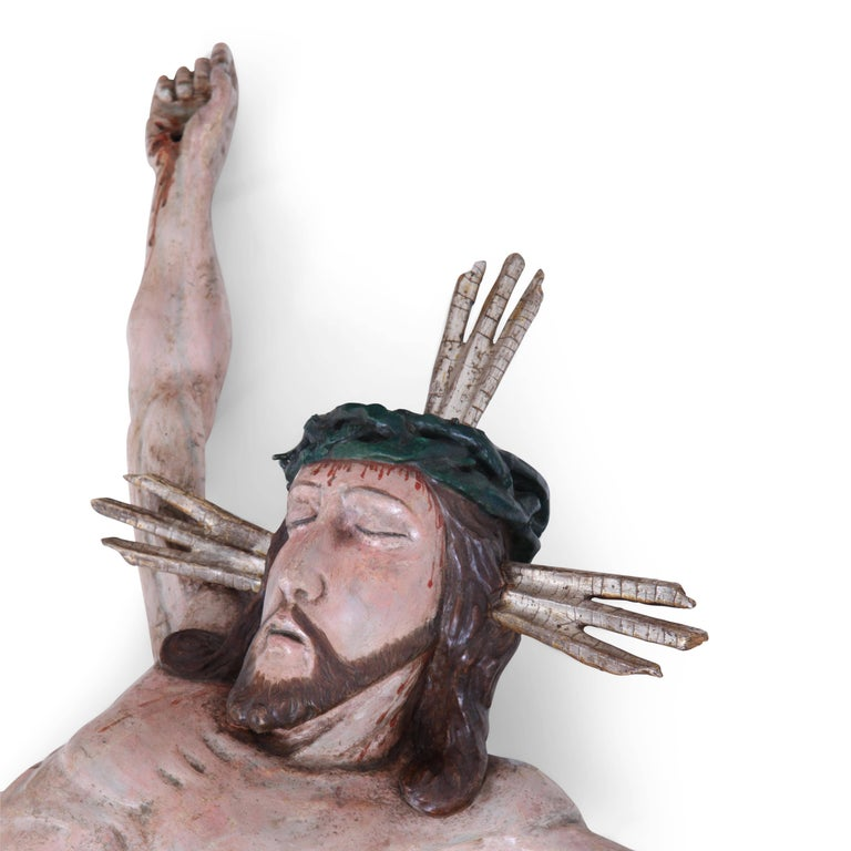 Hand-Painted Baroque Sculpture of Jesus Christ, Germany, 18th Century For Sale