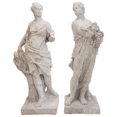 Baroque Sculptures of Summer and Autumn, 18th Century