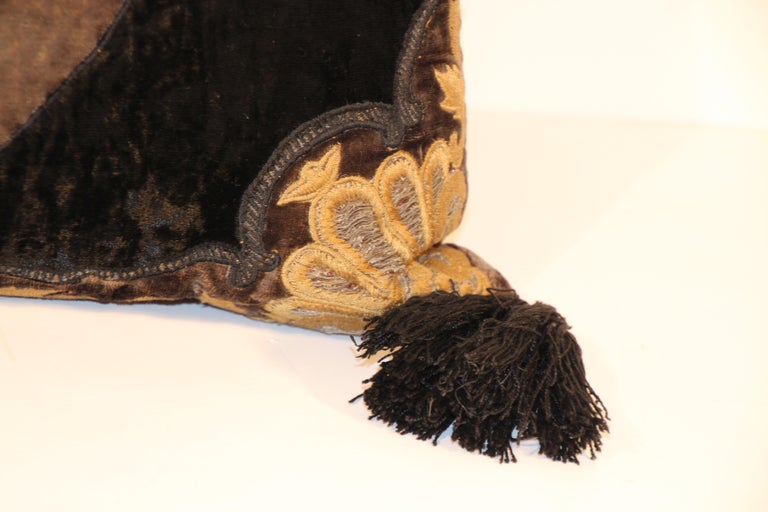 Baroque Silk Velvet Applique Throw Decorative Pillow with Tassels For Sale 3