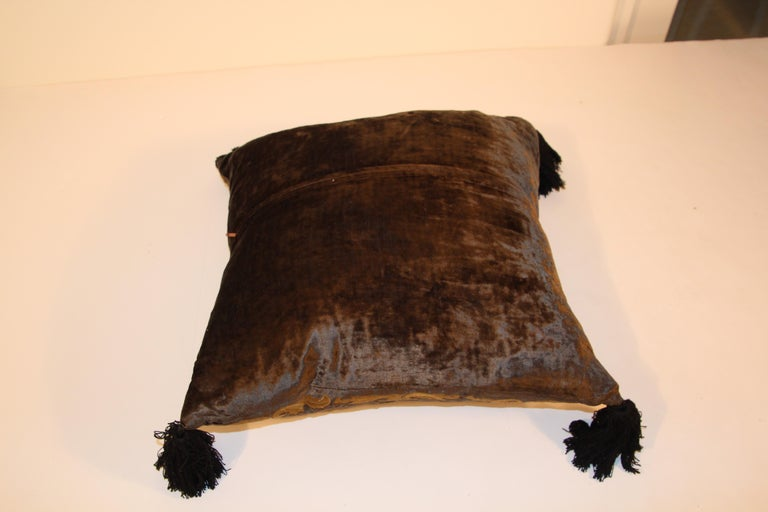 Indian Baroque Silk Velvet Applique Throw Decorative Pillow with Tassels For Sale