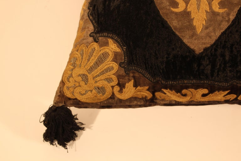 Hand-Crafted Baroque Silk Velvet Applique Throw Decorative Pillow with Tassels For Sale