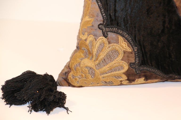 Baroque Silk Velvet Applique Throw Decorative Pillow with Tassels For Sale 2