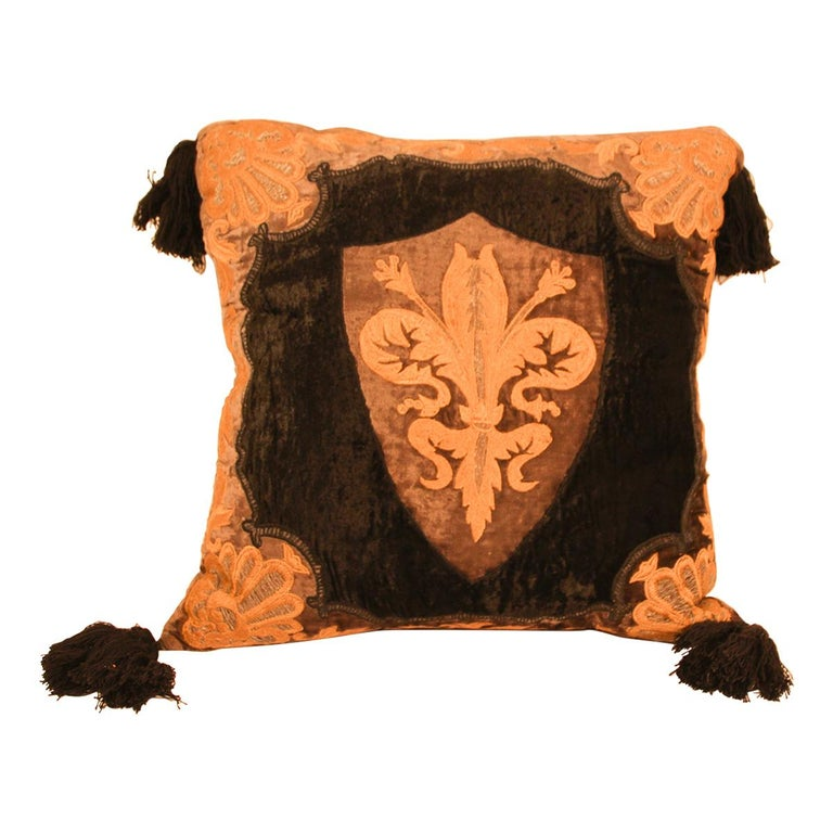 Baroque Silk Velvet Applique Throw Decorative Pillow with Tassels For Sale