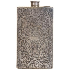 Stunning 19th Century Baroque Silver Flask