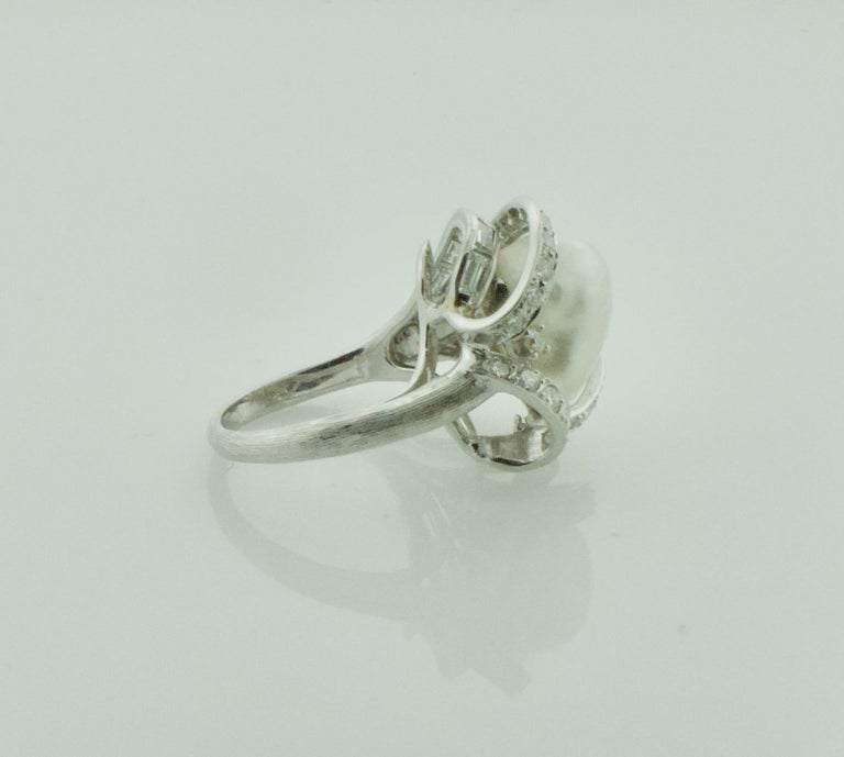 Baguette Cut Baroque South Sea Pearl and Diamond Ring in White Gold, circa 1960s For Sale