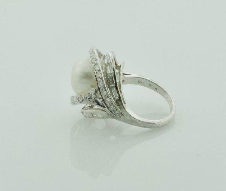 Women's or Men's Baroque South Sea Pearl and Diamond Ring in White Gold, circa 1960s For Sale