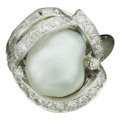 Baroque South Sea Pearl and Diamond Ring in White Gold, circa 1960s