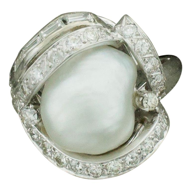 Baroque South Sea Pearl and Diamond Ring in White Gold, circa 1960s For Sale