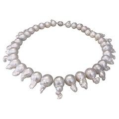 Baroque South Sea Pearl Diamond 18 Carat White Gold Necklace