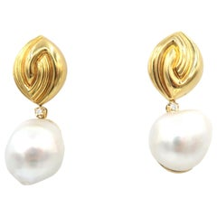 Baroque South Sea Pearl Drop Diamond Yellow Gold Earrings