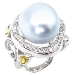 Baroque South Sea Pearl Gold Ring with Diamond and Yellow Sapphire Embellishment