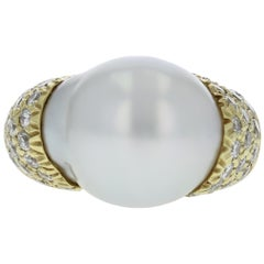 Baroque South Sea Pearl Ring with Diamonds