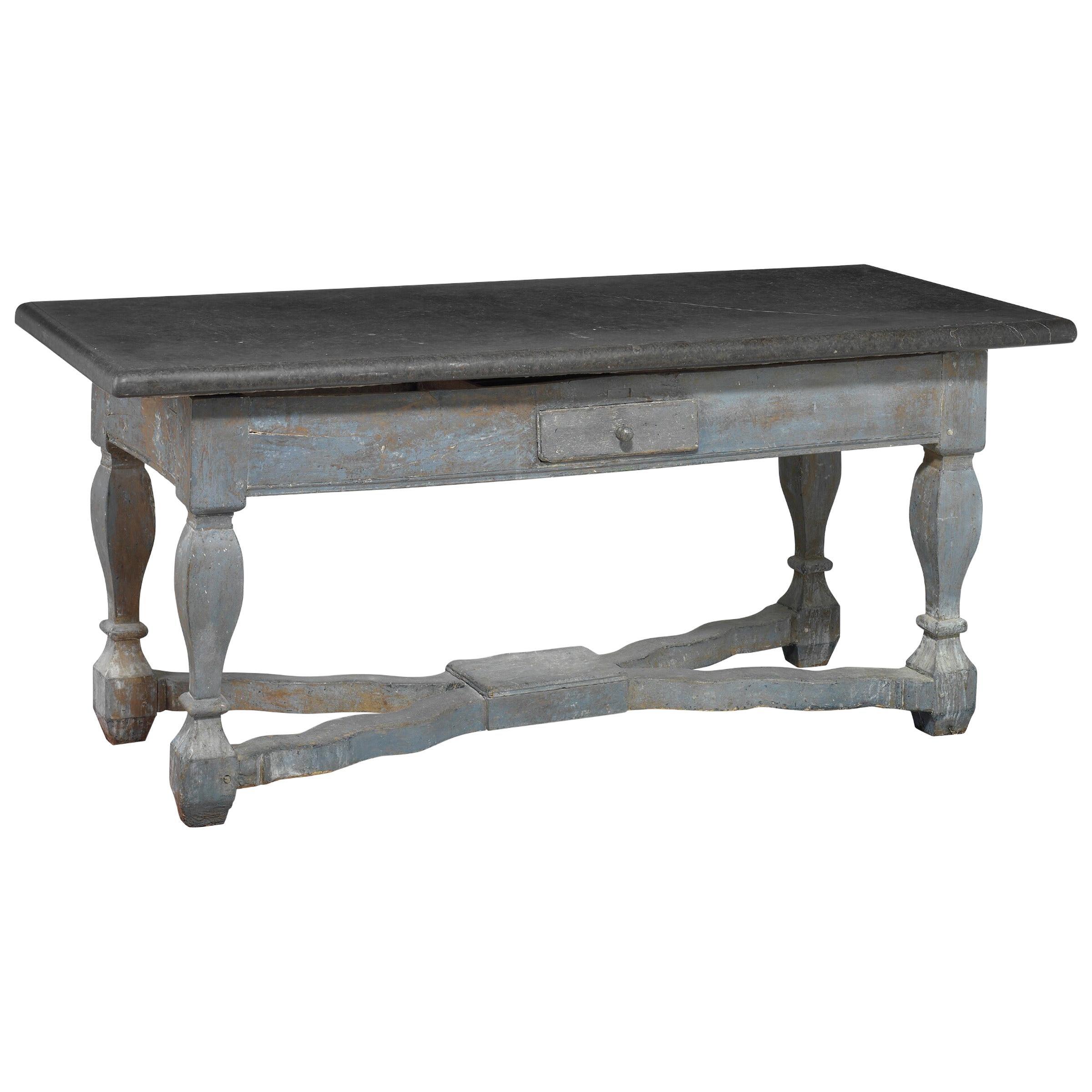 Baroque Stone Top Table, Sweden, 18th Century