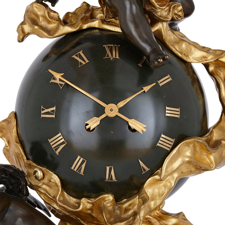 Baroque style bronze and ormolu cherub mantel clock French, late 19th century Measures: Height 69cm, width 35cm, depth 26.5cm  This dramatic and expressive mantel clock is a fine example of the Baroque style. The clock is crafted from gilt and