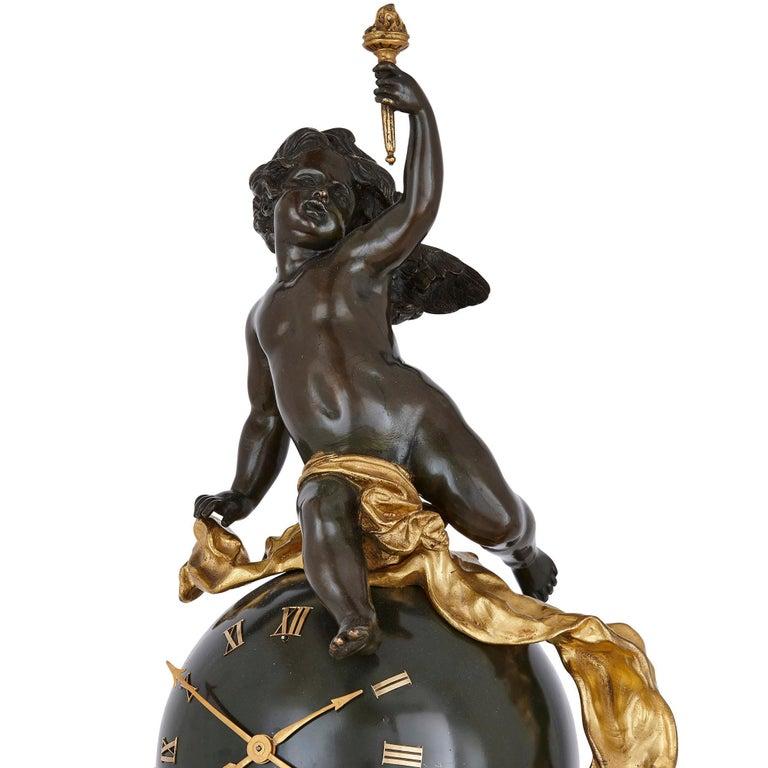 French Baroque Style Bronze and Ormolu Cherub Mantel Clock For Sale