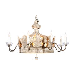 Baroque Style Carved Wooden Crown Chandelier Made of 19th Century Italian Parts