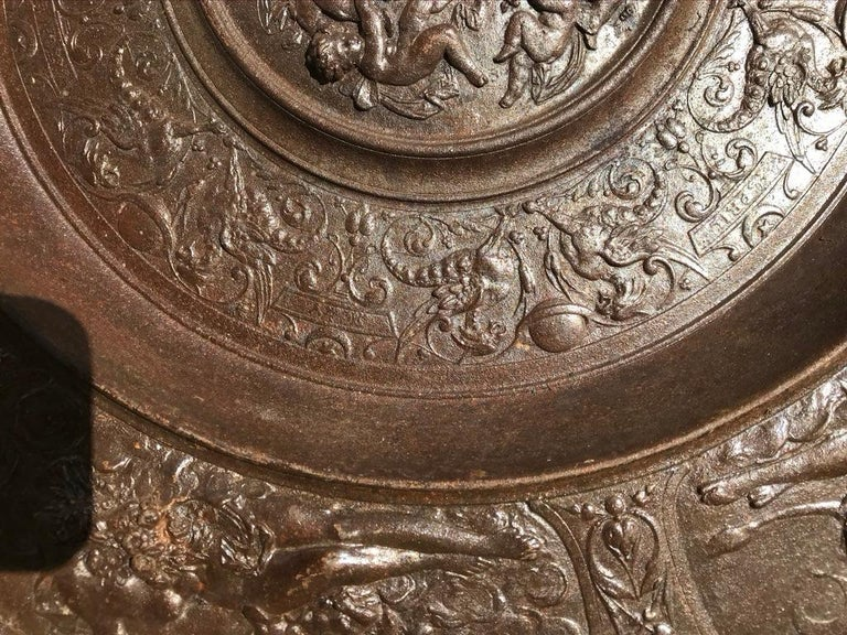 19th Century Berlin Cast Iron Charger with Mythological Scenes For Sale 5
