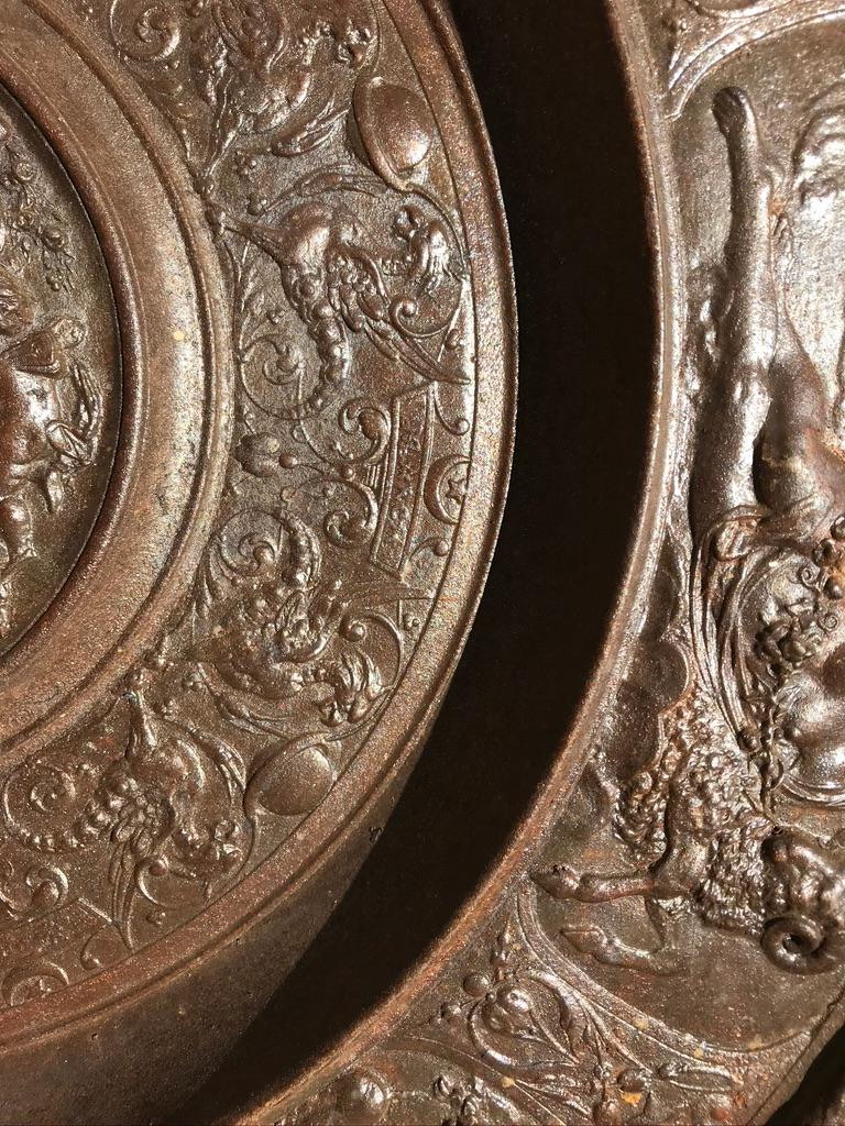 19th Century Berlin Cast Iron Charger with Mythological Scenes For Sale 8