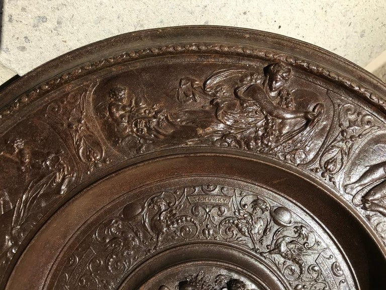 German 19th Century Berlin Cast Iron Charger with Mythological Scenes For Sale