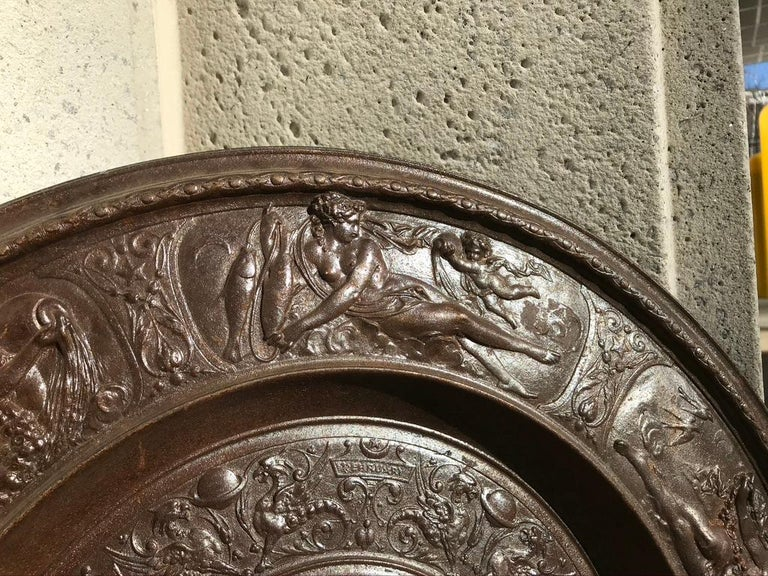 19th Century Berlin Cast Iron Charger with Mythological Scenes In Good Condition For Sale In Stamford, CT