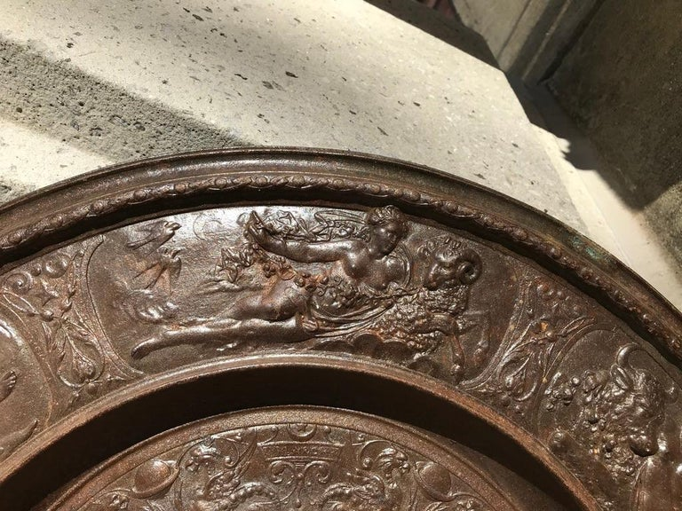 19th Century Berlin Cast Iron Charger with Mythological Scenes For Sale 1