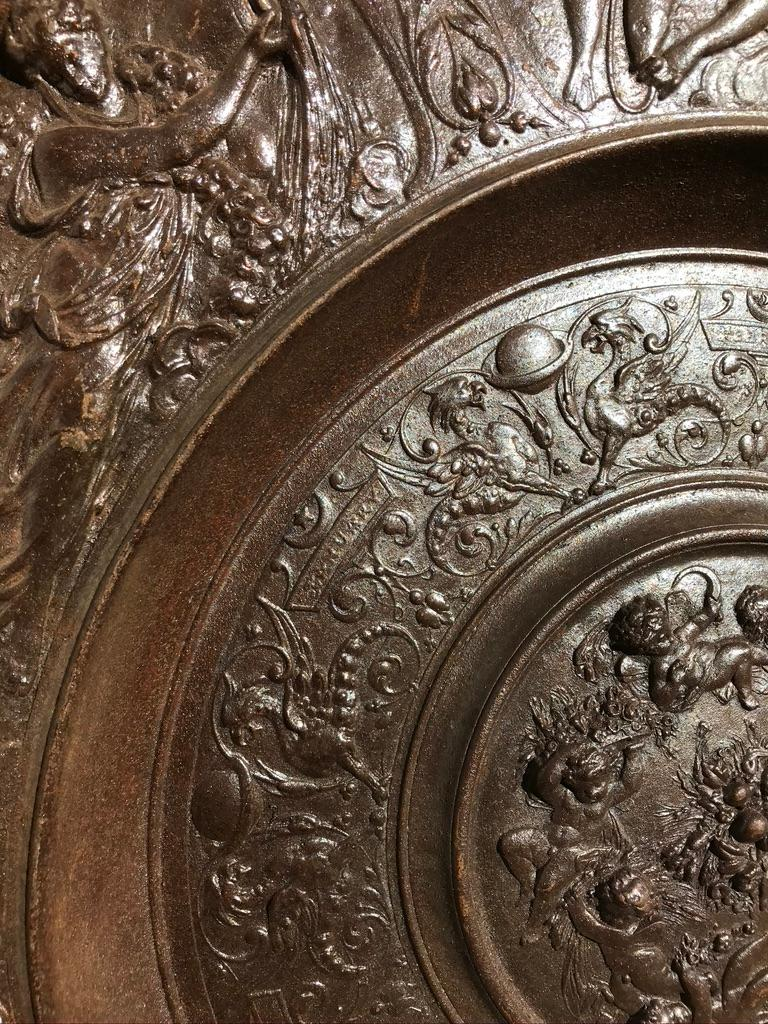 19th Century Berlin Cast Iron Charger with Mythological Scenes For Sale 4