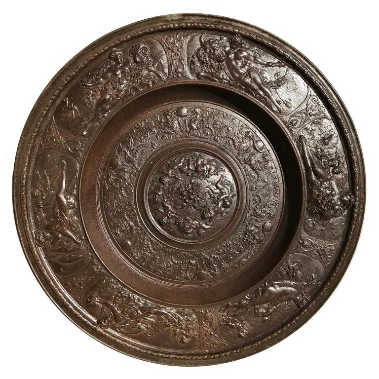 19th Century Berlin Cast Iron Charger with Mythological Scenes For Sale