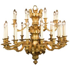 Baroque Style Gilt Brass Two-Tier Chandelier