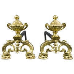 Baroque Style Gilt Bronze and Iron Andirons or Fire Dogs