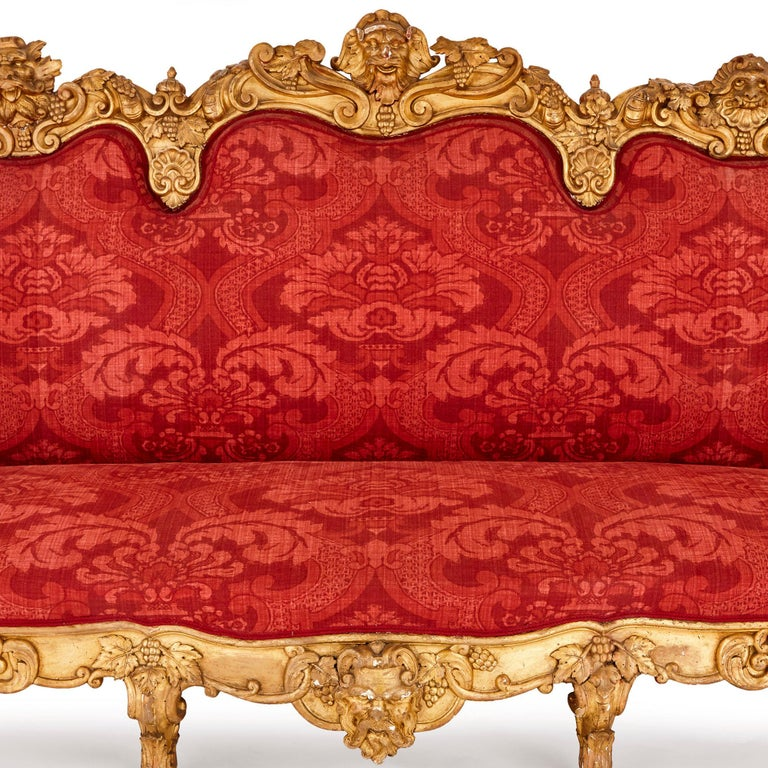 Carved Baroque Style Giltwood and Upholstery Italian Sofa with Classical Motifs For Sale
