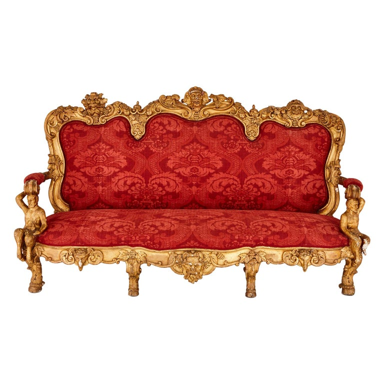 Baroque Style Giltwood and Upholstery Italian Sofa with Classical Motifs For Sale