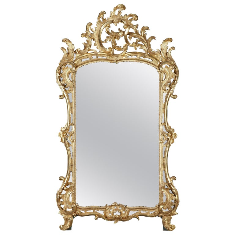 Baroque Style Giltwood Mirror For Sale