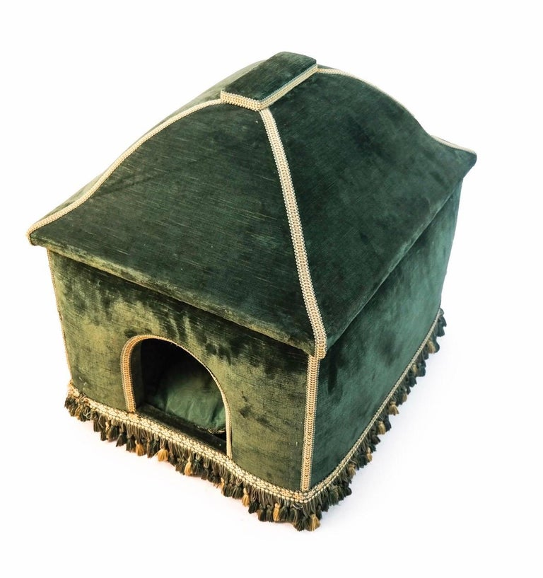 Baroque Style Green Upholstered Dog House, French, 20th Century For Sale 2