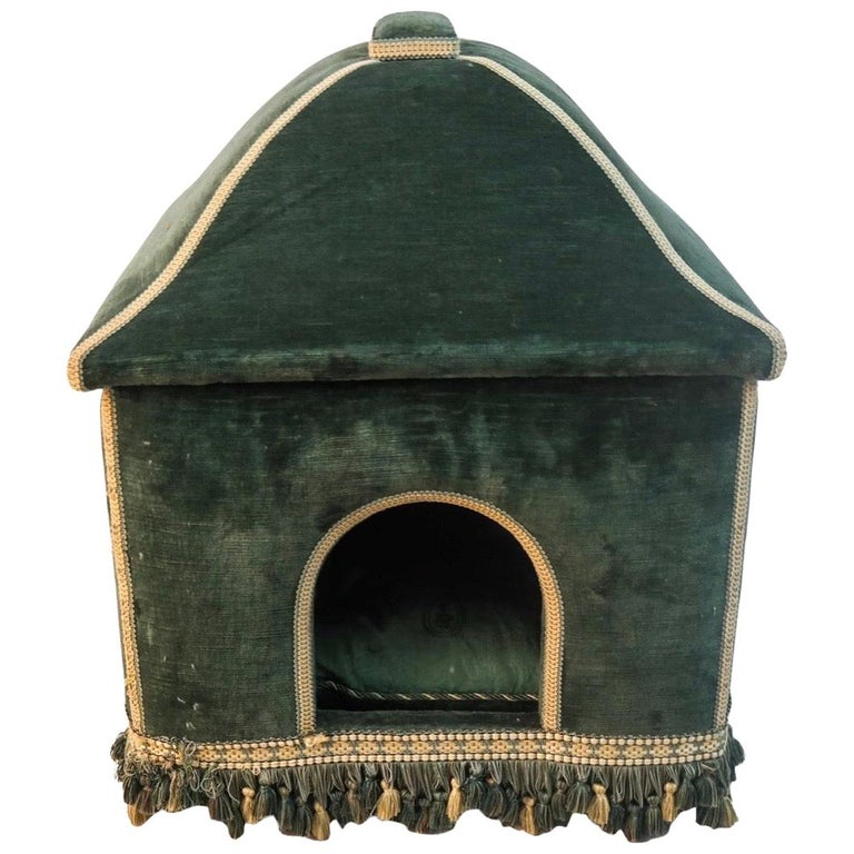 Baroque Style Green Upholstered Dog House, French, 20th Century For Sale