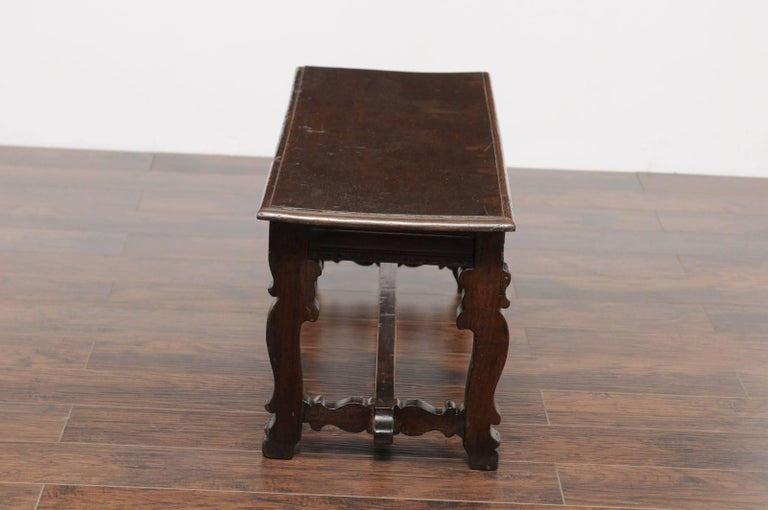 Baroque Style Italian Walnut Bench with Lyre Shaped Trestle Base, circa 1810 In Good Condition For Sale In Atlanta, GA