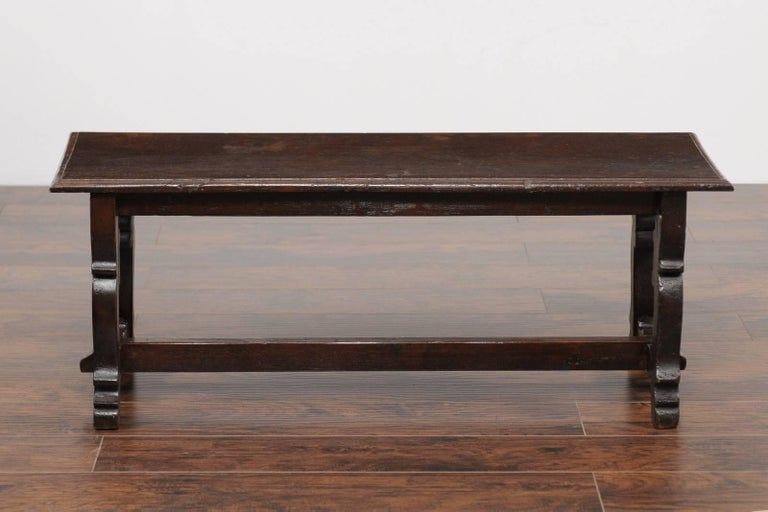 19th Century Baroque Style Italian Walnut Bench with Lyre Shaped Trestle Base, circa 1810 For Sale
