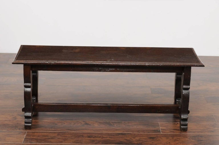 Wood Baroque Style Italian Walnut Bench with Lyre Shaped Trestle Base, circa 1810 For Sale