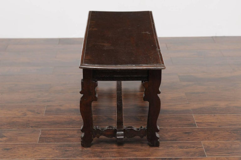 Baroque Style Italian Walnut Bench with Lyre Shaped Trestle Base, circa 1810 For Sale 1