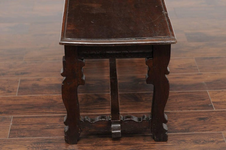 Baroque Style Italian Walnut Bench with Lyre Shaped Trestle Base, circa 1810 For Sale 2