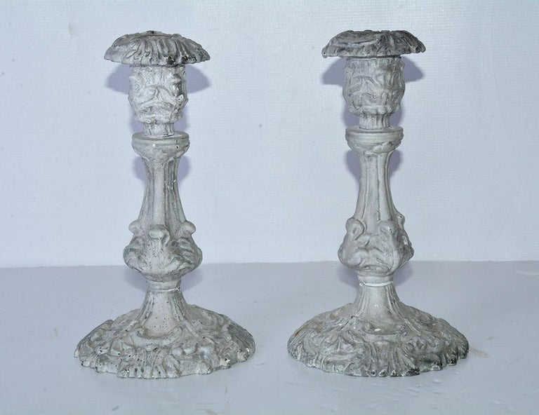 Candleholders in the grey washed Swedish Gustavian Baroque style. The stylish candlesticks are highly decorative and will enhance any decor.