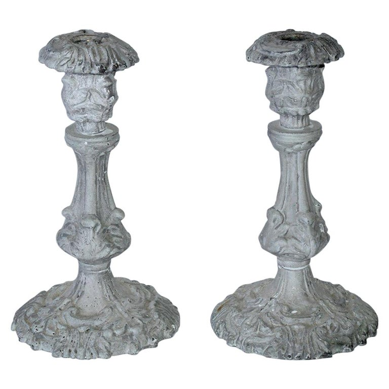 Baroque Style Metal Candleholders For Sale