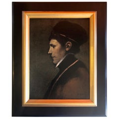 """Baroque Style Oil Painting """"Figure with Black Cap"""" by Ray Donley"""