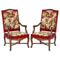 Baroque Style Pair of Armchairs in Needlepoint Embroidery Upholstery