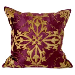 Baroque Style, Red and Gold Velvet Pillow, Elaborate Applique Work