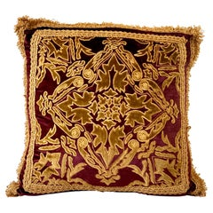 Baroque Style Red Velvet and Overall Gold Embroidery and Applique Pillow
