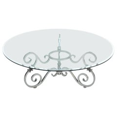 Baroque Style Round Steel and Glass Coffee Table
